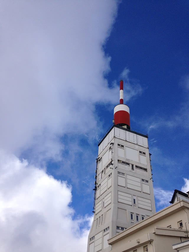 The radio tower at the summit of Mont Ventoux