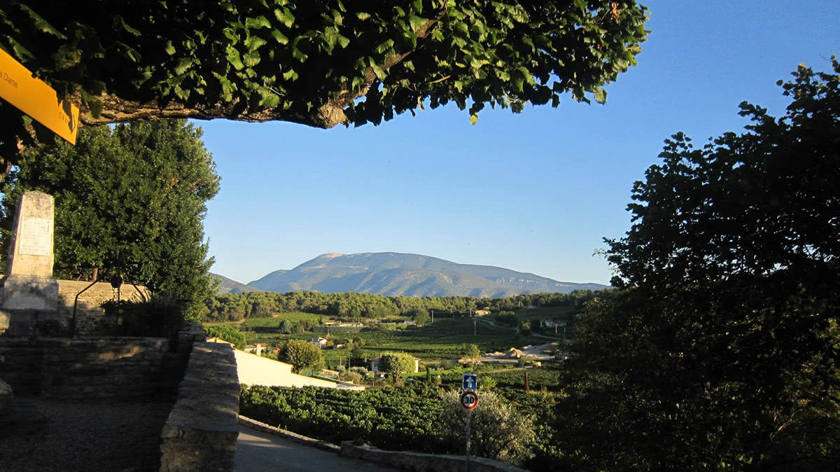 Mont Ventoux as seen from Faucon, a commune in the Vaucluse department