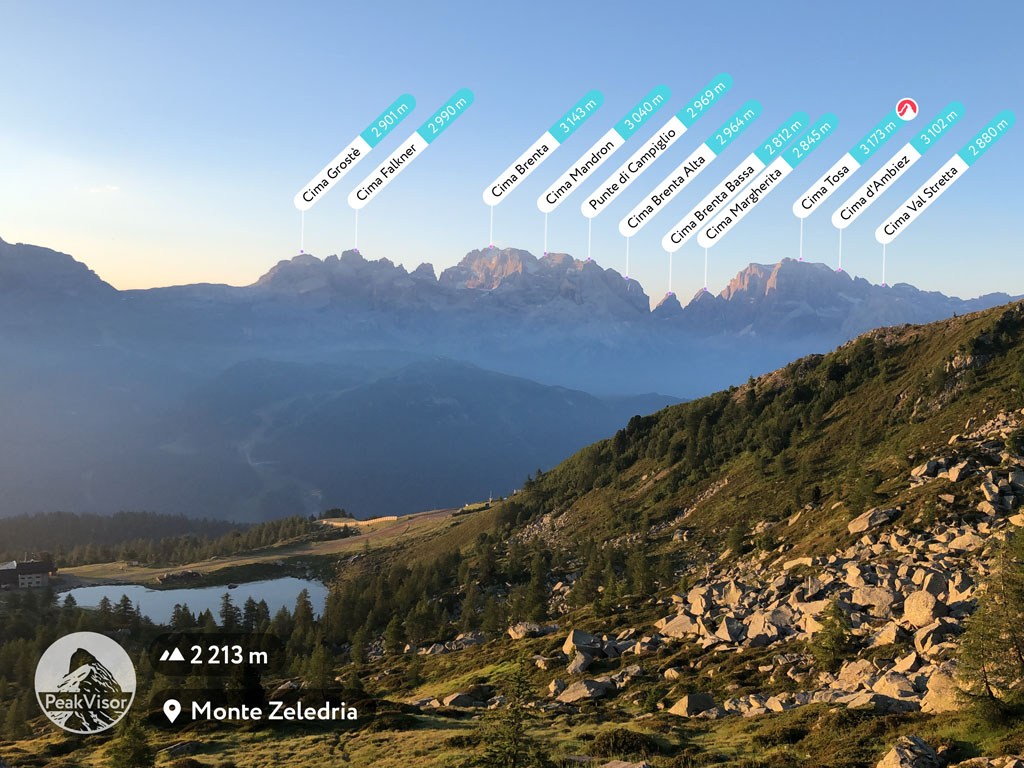 The Brenta Group at sunrise from Monte Zeledria