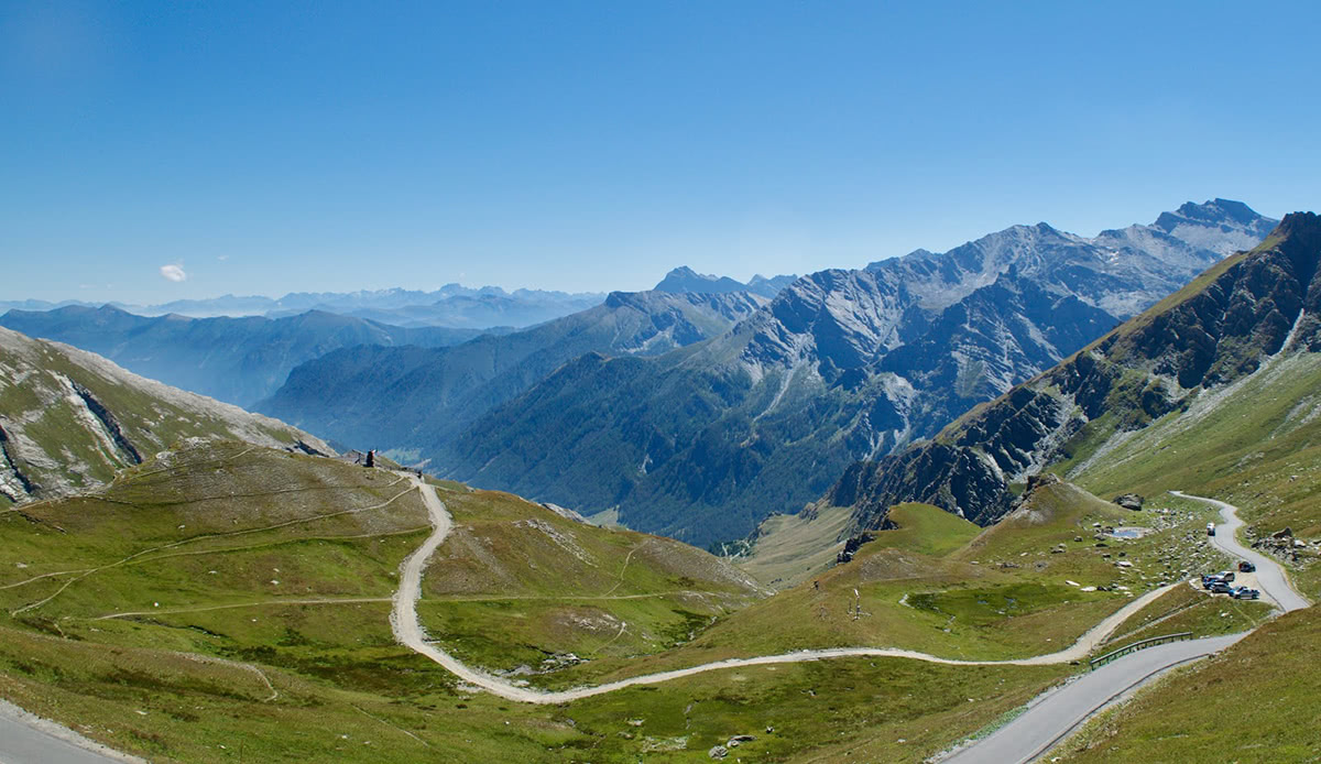 Summit of the Col Agnel, looking down the valley towards Italy