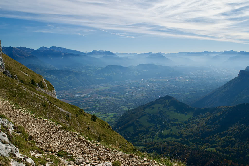 The view towards Grenoble from the western slopes of the Dent de Crolles