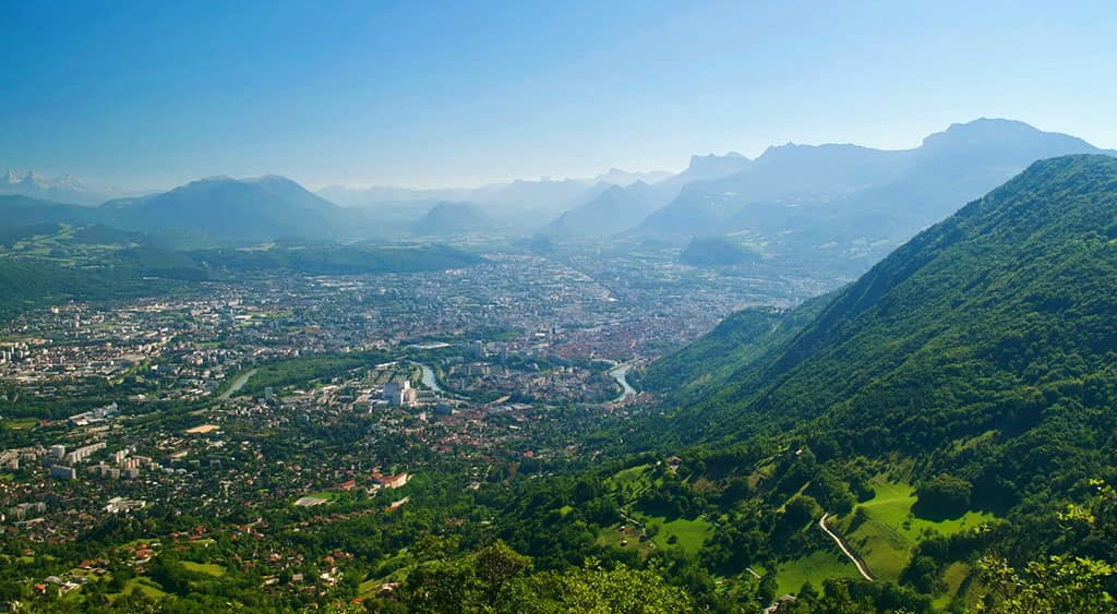 Grenoble as seen from the fort of Saint-Eynard on the ridge of the Chartreuse