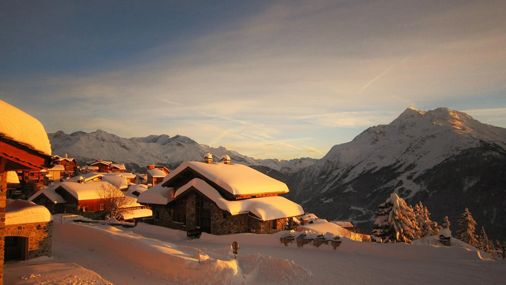 Sunset in La Rosière, with Val d'Isère and Tignes beyond