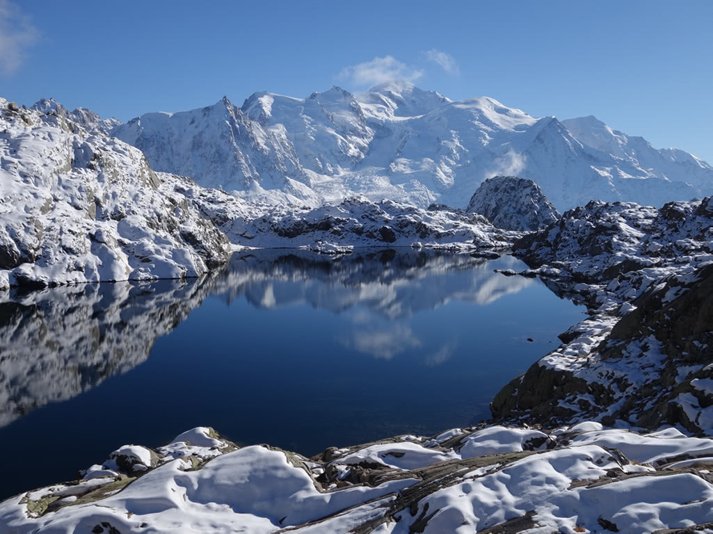 Mont Blanc reflected in the surface of Lac Noir