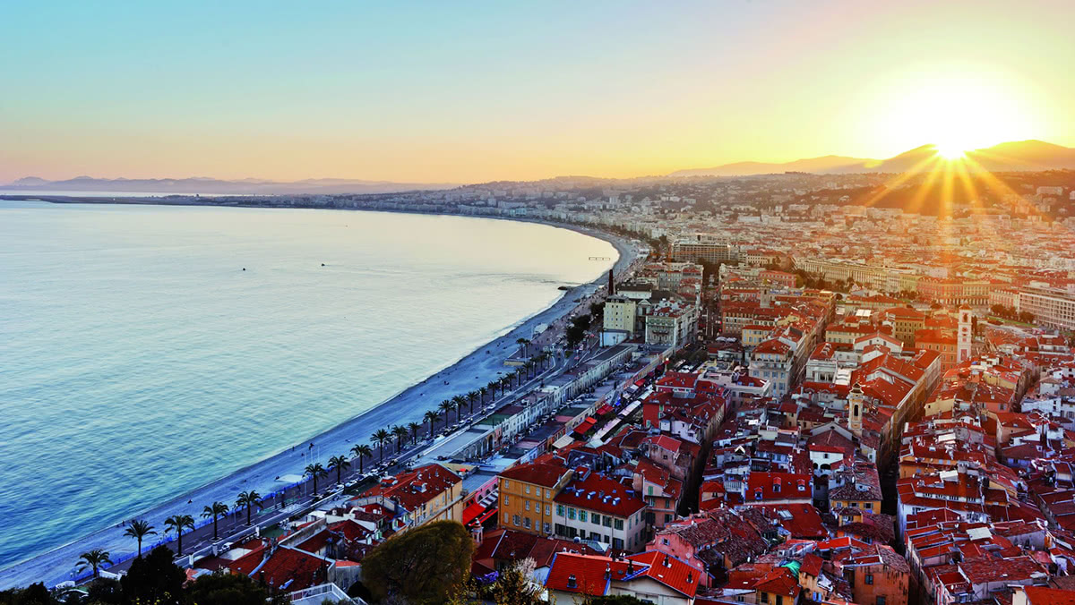View of Nice and the Mediterranean coastline