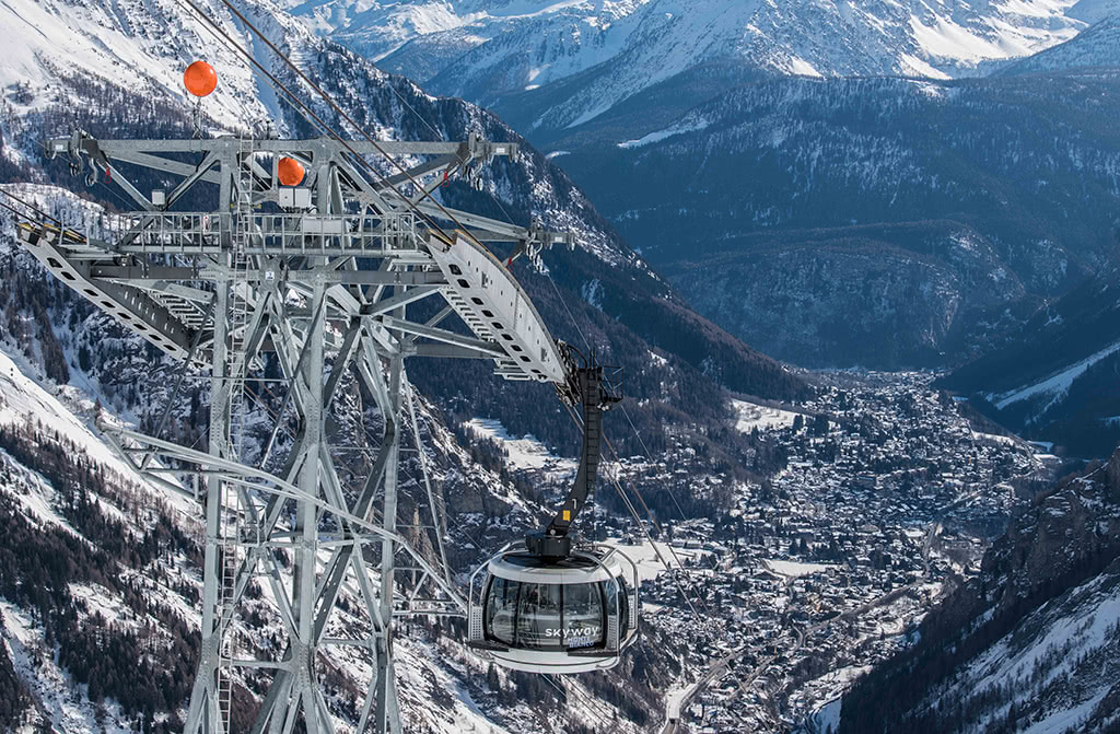 The Skyway Monte Bianco and views of Courmayeur in the distance