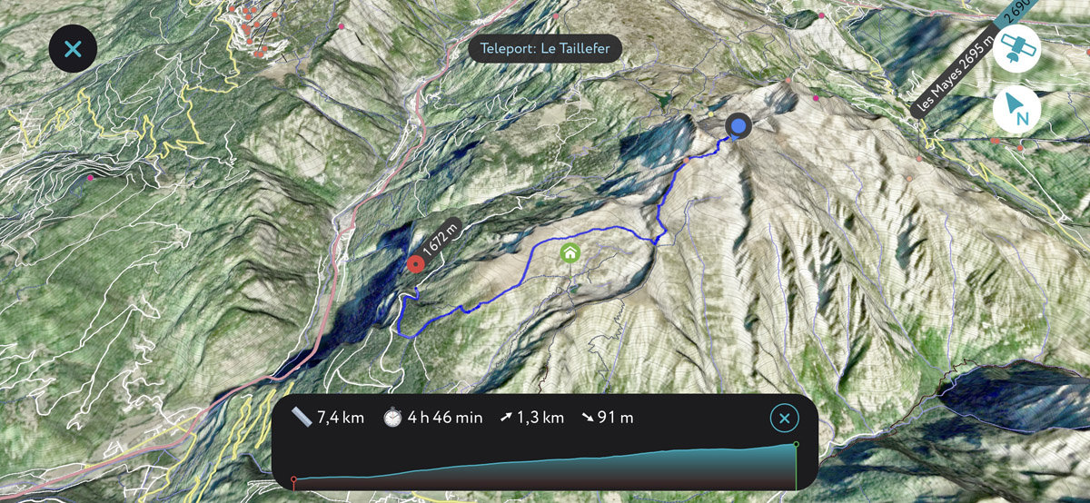 Le Taillefer trail 3D map