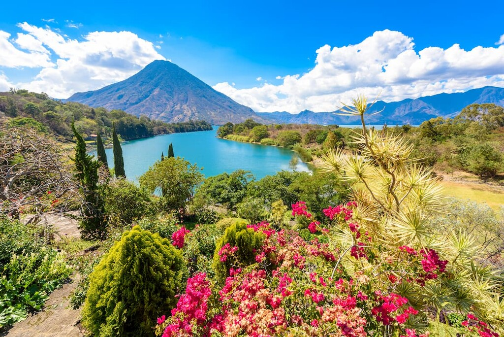 bay of Lake Atitlan with view to Volcano San Pedro. Guatemala